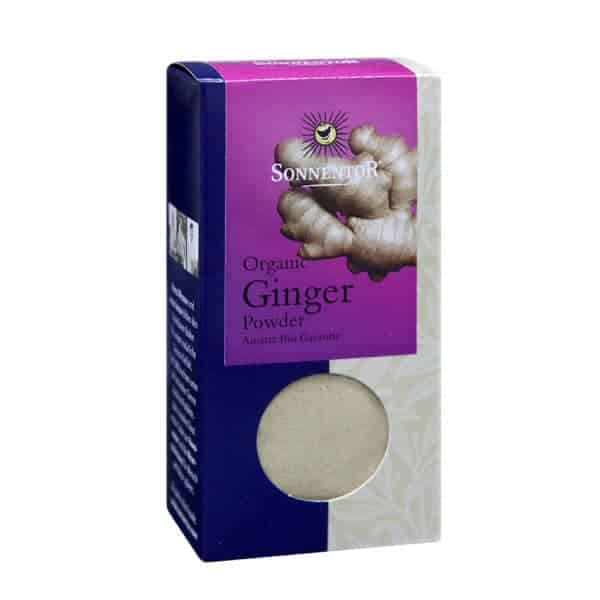 Front view of a packet of Sonnentor Ginger Powder, 35g