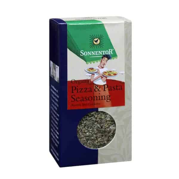 Front view of a box of Sonnentor Pizza & Pasta Seasoning, 25g