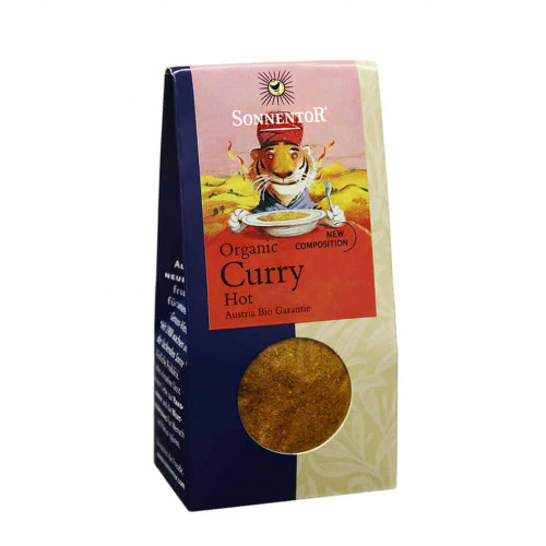 Front view of a packet of Sonnentor Curry Hot, 35g