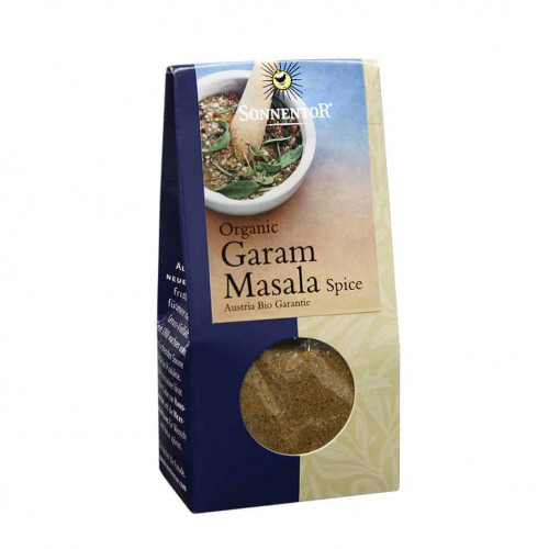 Front view of a box of Sonnentor Garam Masala Spice, 35g
