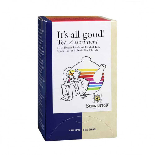 "Front view of box of Sonnentor ""It's All Good!"" Tea Assortment"