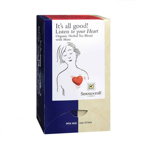 Front view of a box of Sonnentor Listen To Your Heart Tea Blend