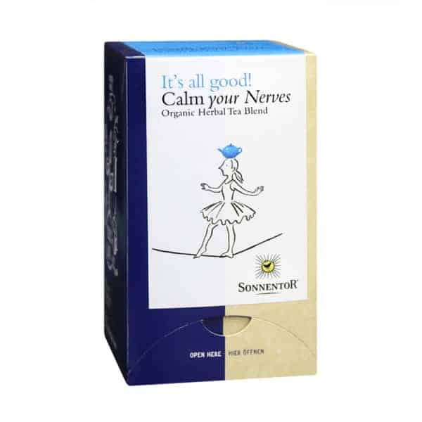 Front view of a box of Sonnentor Calm Your Nerves Tea Blend