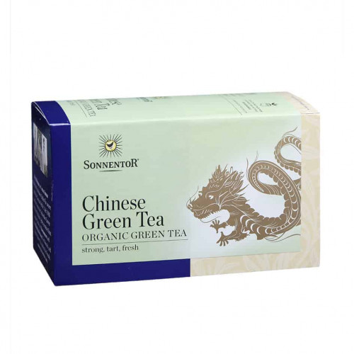 Front view of a box of Sonnentor Organic Chinese Green Tea