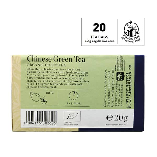 Back view of a box of Sonnentor Organic Chinese Green Tea