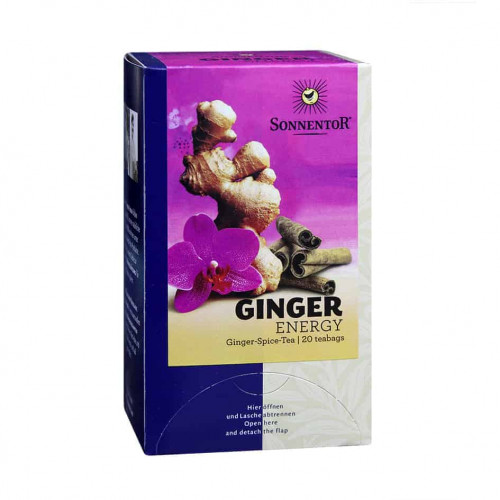 Front view of a box of Sonnentor Ginger Energy Tea