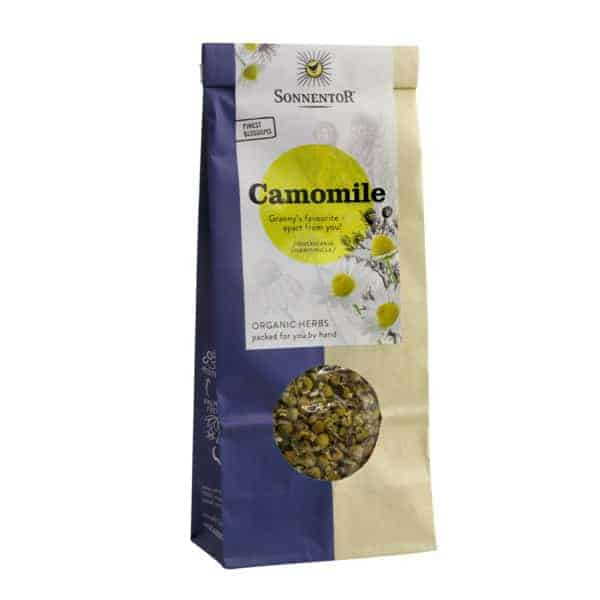 Front view of a packet of Sonnentor Organic Camomile Flowers Loose (50g)