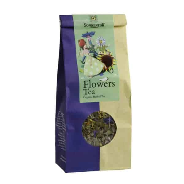 Front view of a packet of Sonnentor Flowers Herbal Tea, 40g