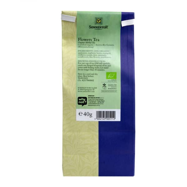 Back view of a packet of Sonnentor Flowers Herbal Tea, 40g