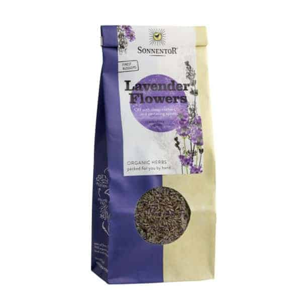 Front view of a packet of Sonnentor Lavender Flowers, 70g