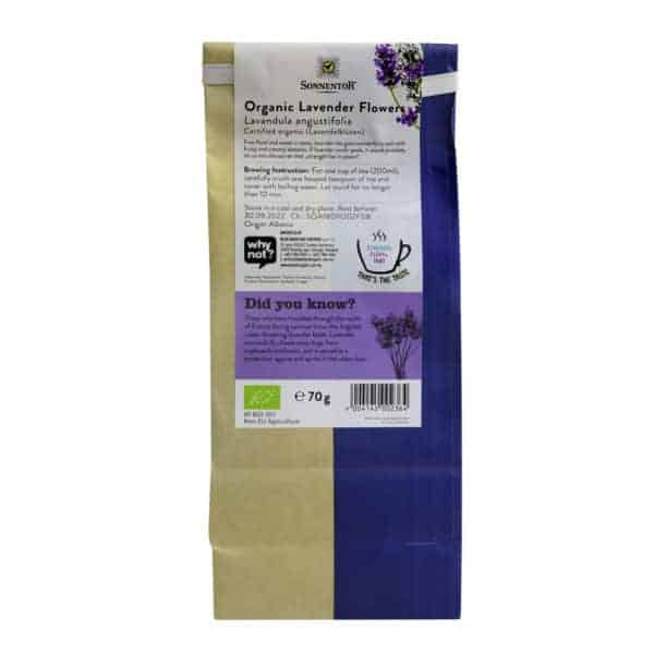 Back view of a packet of Sonnentor Lavender Flowers, 70g