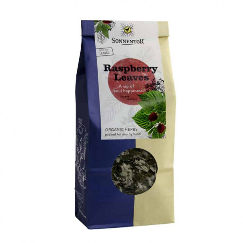 Front view of a packet of Sonnentor Raspberry Leaves, 50g