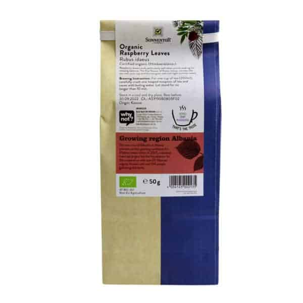 Back view of a packet of Sonnentor Raspberry Leaves, 50g