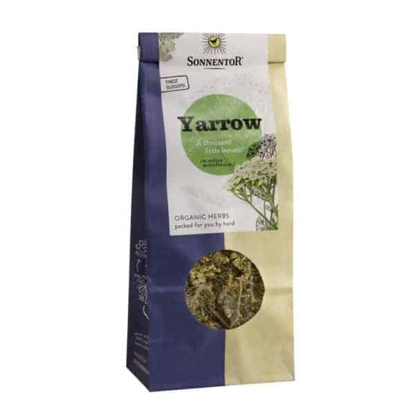 Front view of a packet of Sonnentor Yarrow, 50g