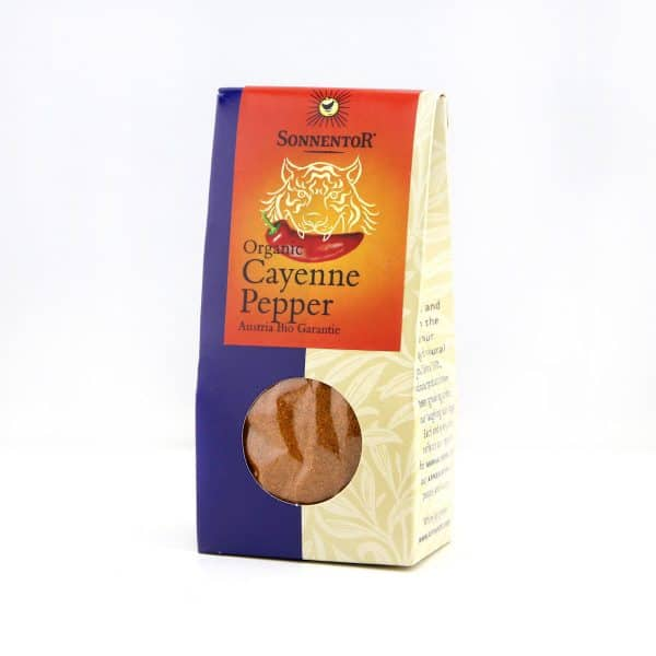 Front view of a package of Sonnentor Organic Cayenne Pepper Powder