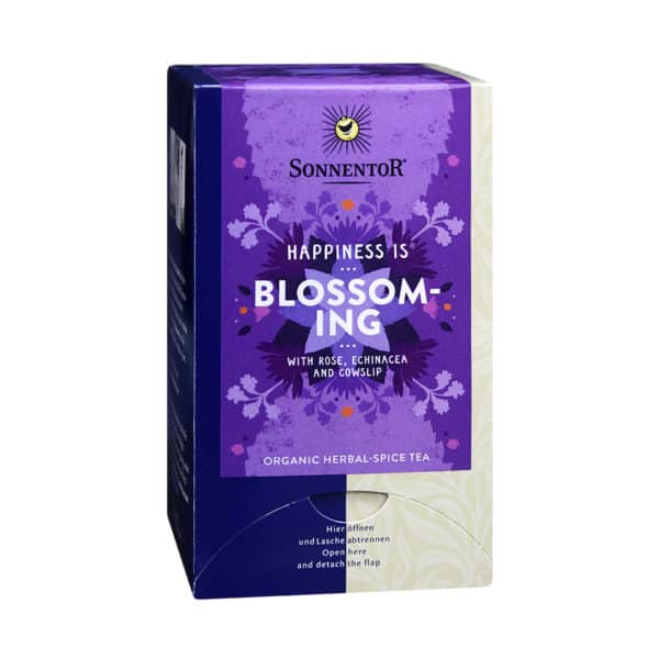 Front view of a box of Sonnentor Happiness is... Blossoming Tea Blend