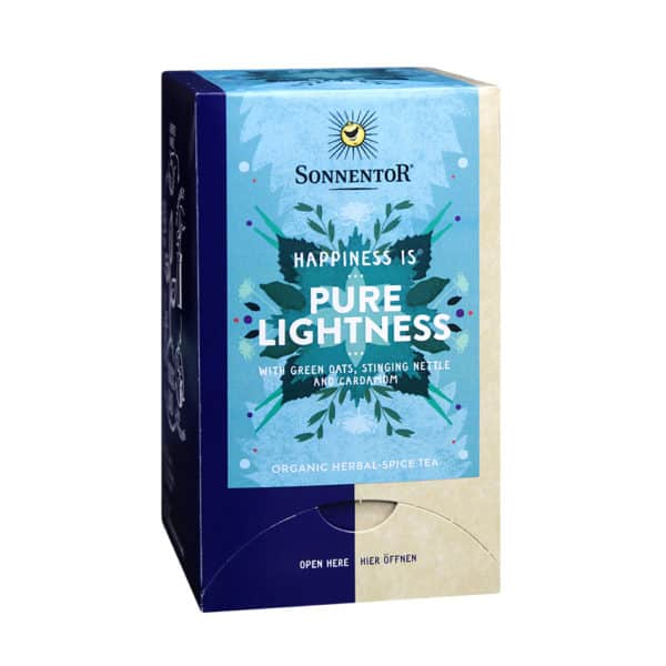 Front view of a box of Sonnentor Happiness is... Pure Lightness Tea Blend