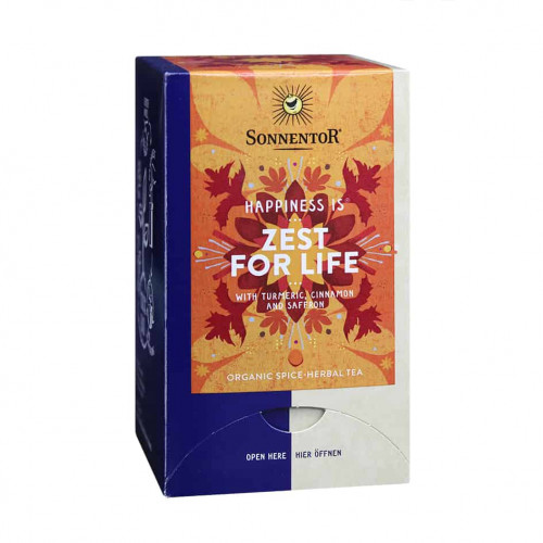 Front view of a box of Sonnentor Happiness is... Zest for Life Tea Blend