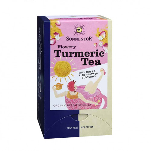 Front view of a box of Sonnentor Organic Flowery Turmeric Tea Blend