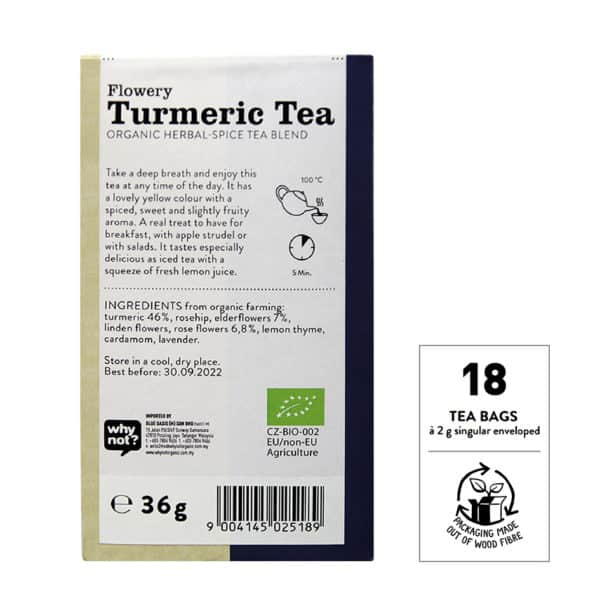 Back view of a box of Sonnentor Organic Flowery Turmeric Tea Blend