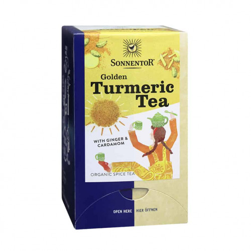 Front view of a box of Sonnentor Organic Golden Turmeric Tea