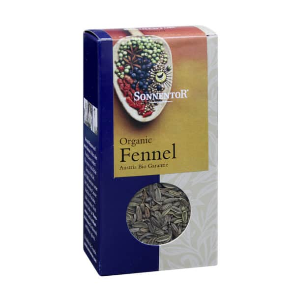 Front view of a box of Sonnentor Fennel Whole, 40g