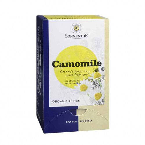 Front view of a box of Sonnentor Organic Camomile Tea Blend