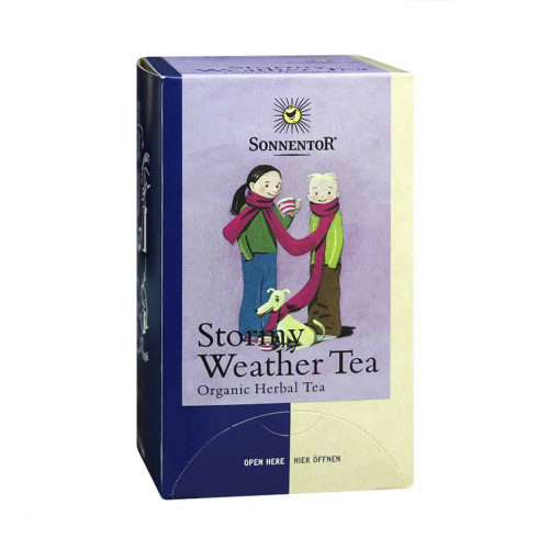 Front view of a box of Sonnentor Stormy Weather Tea Blend