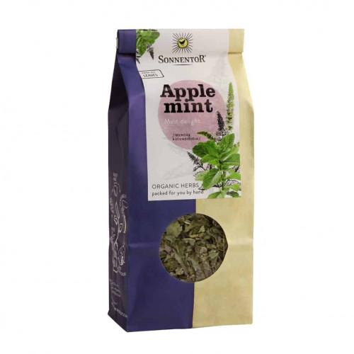 Front view of a packet of Sonnentor Organic Applemint Tea, 50g