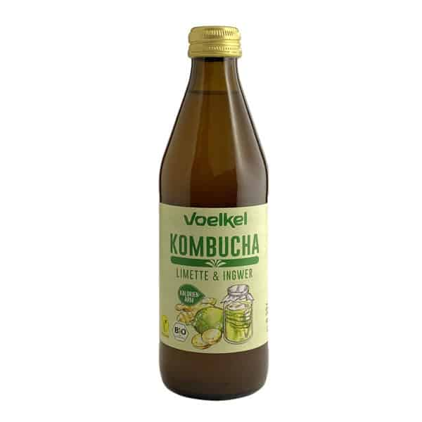 Bottle of Voelkel Organic Kombucha Lime and Ginger, 330ml