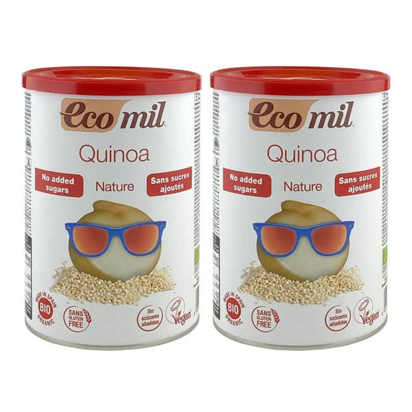 Two tins of Ecomil quinoa drink powder