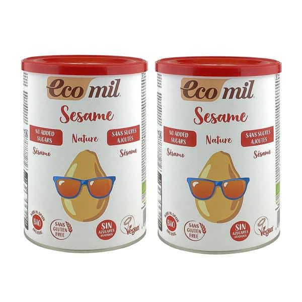 Two tins of ecomil sesame almond drink powder