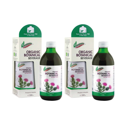 Two bottles of naturvital florian milk thistle drink with packaging