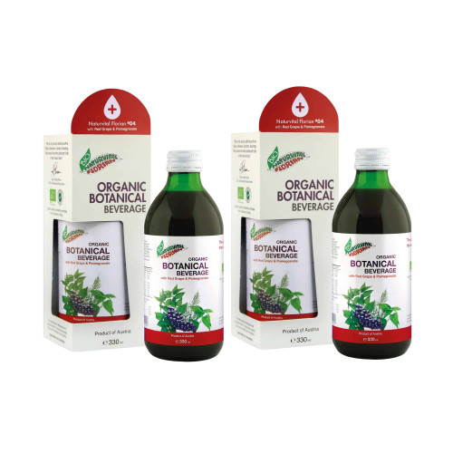 Two bottles of naturvital florian red grape and pomegranate drink with packaging